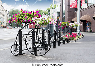Vintage decorative bicycle with flowers
