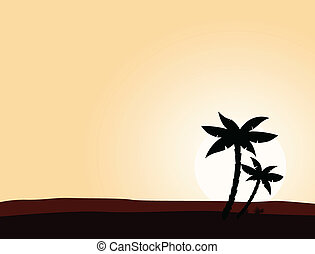 Desert sunrise background - Vector illustration of black...