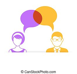 Man and woman with speech bubbles - Man and woman icon with...