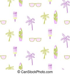 Summer beach party seamless pattern for cards or fabric. Ice...