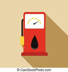Gas station pump with fuel nozzle icon, flat style