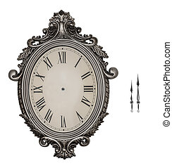 Antique wall clock isolated. - Antique wall clock isolated...
