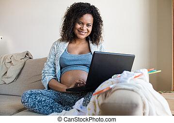gravid, kvinna, inköp, Direkt