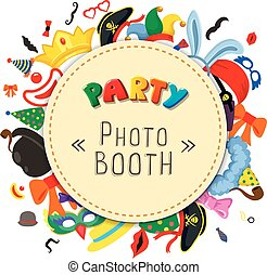 Party Birthday photo booth props. Hat and mask, costume with...