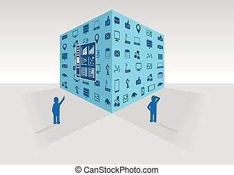 Persons looking at big data cube - Two persons looking at...