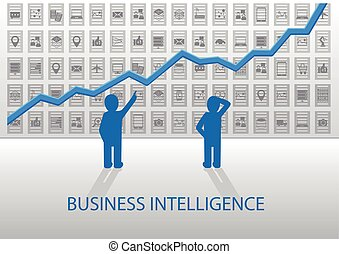 Business Intelligence illustration. Analyzing positive chart