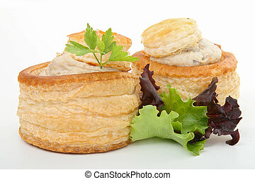 vol au vent - two vol au vent with salad