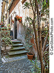 Little courtyard in Orvieto, Italy, Toscana - Little...