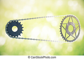 Bicycle gearing on green background - Bicycle gearing on...