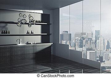 Loft kitchen interior - Side view of loft kitchen interior...