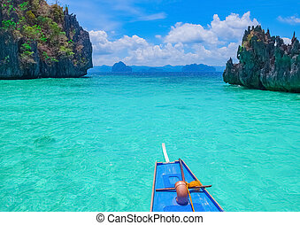 Boat trip to blue lagoon, Palawan, Philippines - Boat trip...