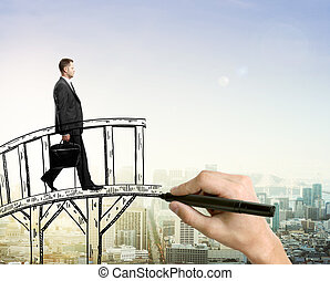 Success concept man on bridge - Success concept with hand...