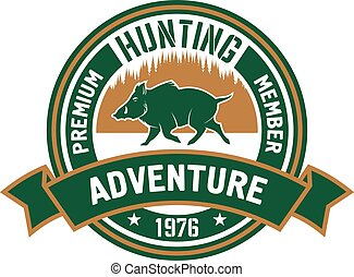 Hunting club badge with wild boar and forest