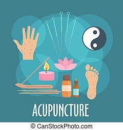 Alternative medicine icon with acupuncture therapy -...