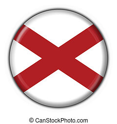 Alabama USA State button flag round shape - 3d made