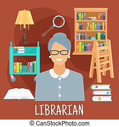 Librarian with books icon for profession design