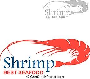 mariscos, real, camarón, diseño, mejor, insignia, rojo