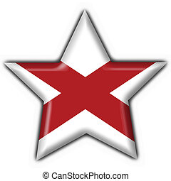 Alabama (USA State) button flag star shape - 3d made