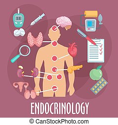 Endocrinology and endocrine system flat icon - Endocrinology...