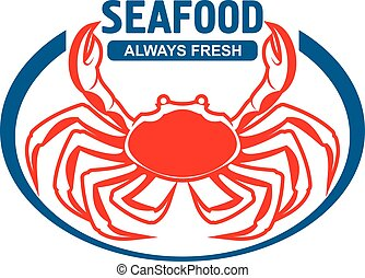 Dungeness crab badge design with header Seafood - Dungeness...