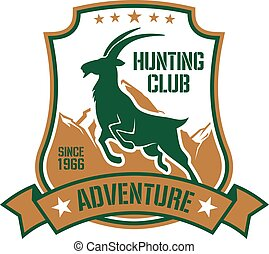 Hunting badge for sporting club design with goat