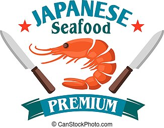 Japanese seafood restaurant icon with red prawn - Japanese...