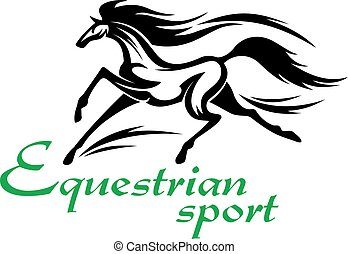 Running racehorse icon for equestrian sport design -...