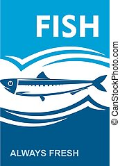 Always fresh fish icon for seafood design - Small anchovy...