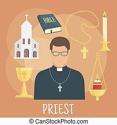 Catholic priest with religious symbols, flat style - Young...