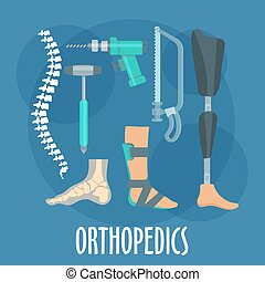 Orthopedics and prosthetics icon for clinic design -...