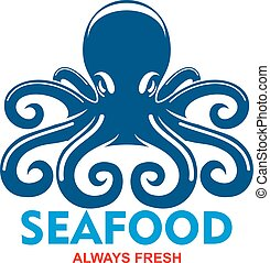 Blue pacific octopus icon for seafood menu design - Giant...