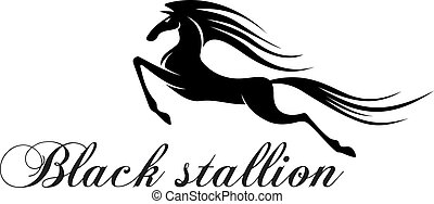 Silhouette of a jumping horse for mascot design