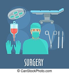Surgeon in operating room with instruments icon - Surgeon in...