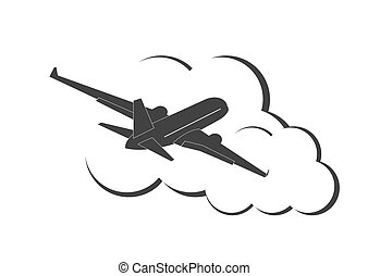 Airplane in the clouds. Vector illustration