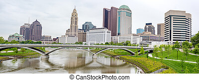 Skyline of Columbus Ohio - River reflection with rain and...