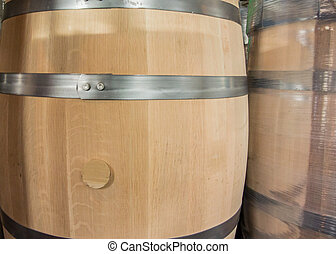New Barrel and Wrapped Barrel before being filled at a...