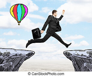 Success concept with jumping man - Success concept with...