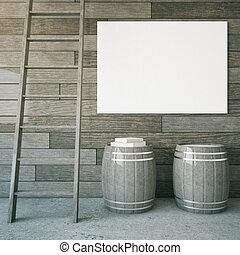 Billboard, barrels and ladder - Grey wooden interior with...