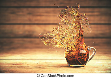 Splashing tea on wood - Splashing cup of tea on dark wooden...