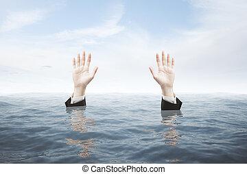 Hands seeking rescue - Businessman hands in water seeking...