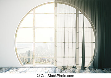 Creative interior with round window - Creative interior...
