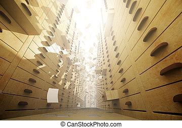 Paper in retro archive - Retro archive interior with open...