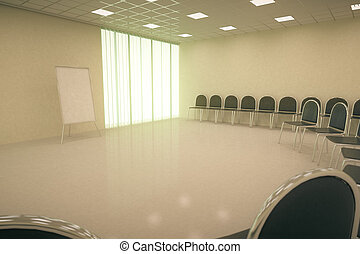 Conference hall interior with blank whiteboard stand, rows...