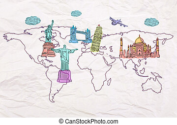 Sights sketches on map - Travel concept with abstract map on...