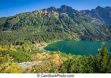 Landscape of mountain lake Morskie Oko near Zakopane, Tatra...