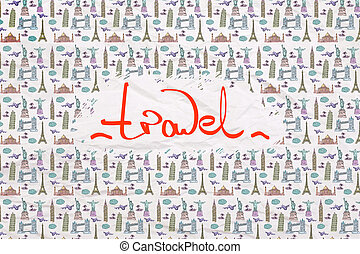 Travel concept crumpled wallpaper - Travel concept with...