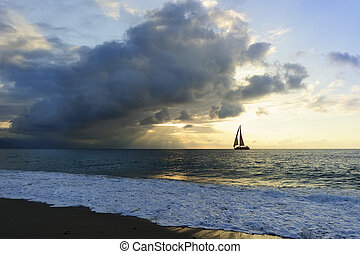Sailboat Sunset Sun Beams