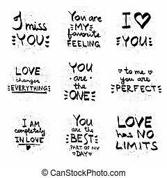 Love quotes black on white vector.Text written on painted background illustration