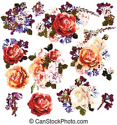 Big collection or set of realistic vector flowers for design.eps