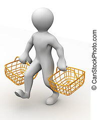 Man with consumer basket 3d